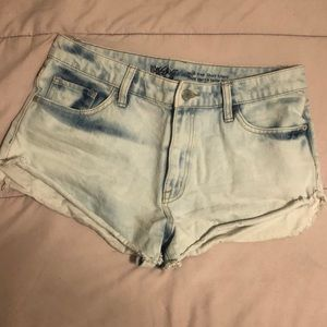 Light wash denim jean shorts